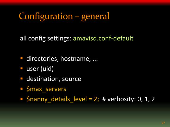 Configuration – general