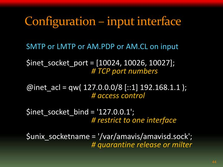 Configuration – input interface