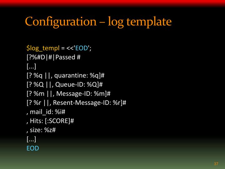 Configuration – log template