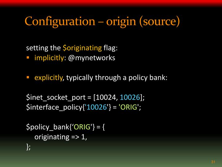 Configuration – origin (source)
