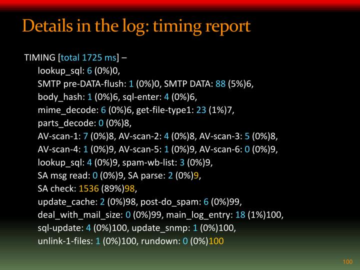 Details in the log: timing report