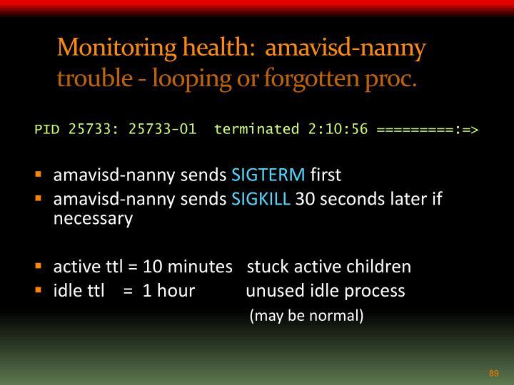Monitoring health:  amavisd-nanny