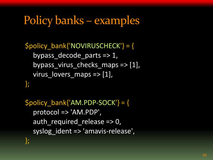 Policy banks – examples