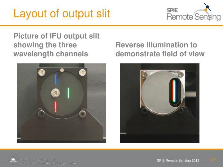Layout of output slit