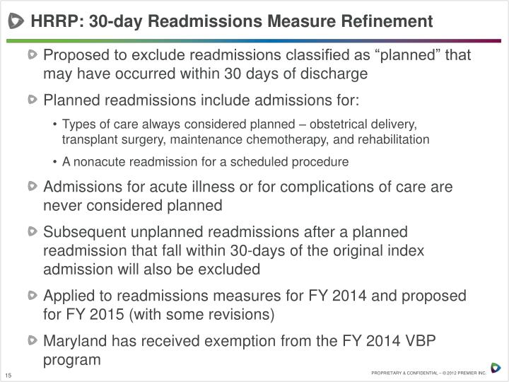 HRRP: 30-day Readmissions Measure Refinement