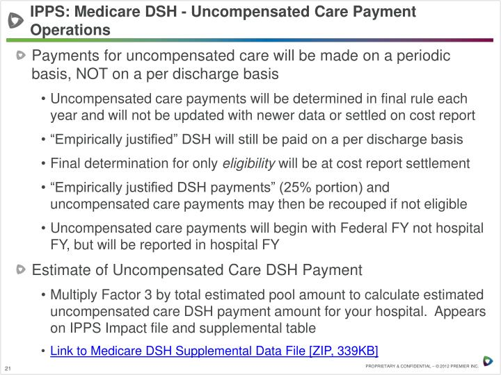 IPPS: Medicare DSH - Uncompensated Care Payment Operations