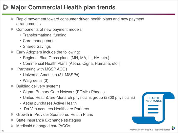 Major Commercial Health plan trends