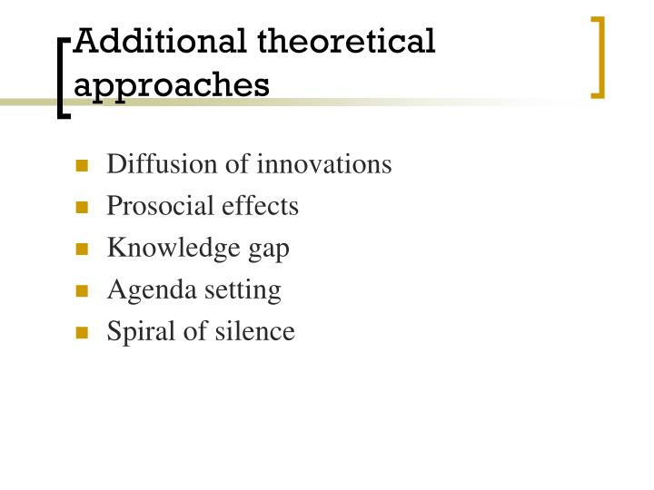 Additional theoretical approaches