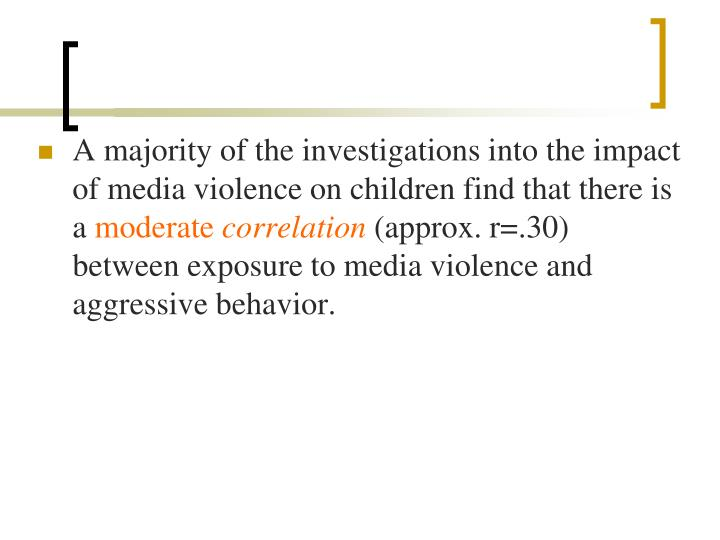 A majority of the investigations into the impact of media violence on children find that there is a