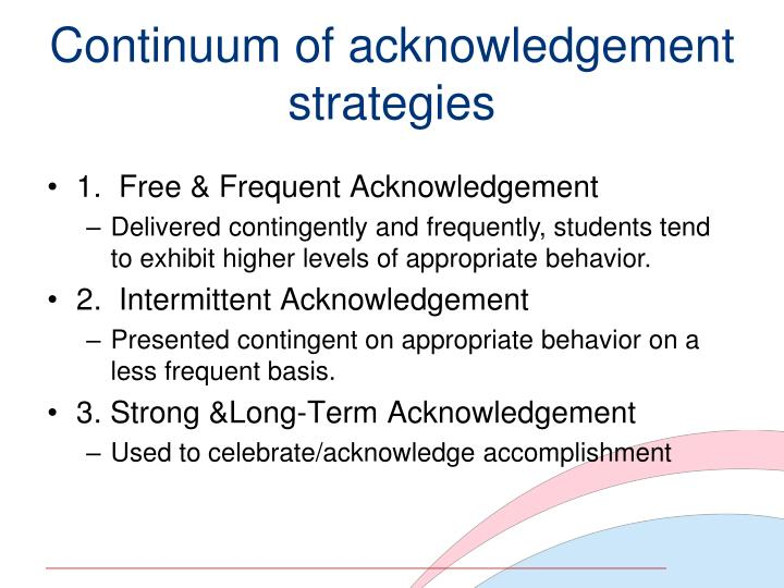 Continuum of acknowledgement strategies