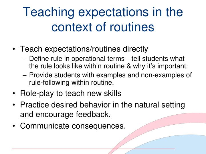 Teaching expectations in the context of routines