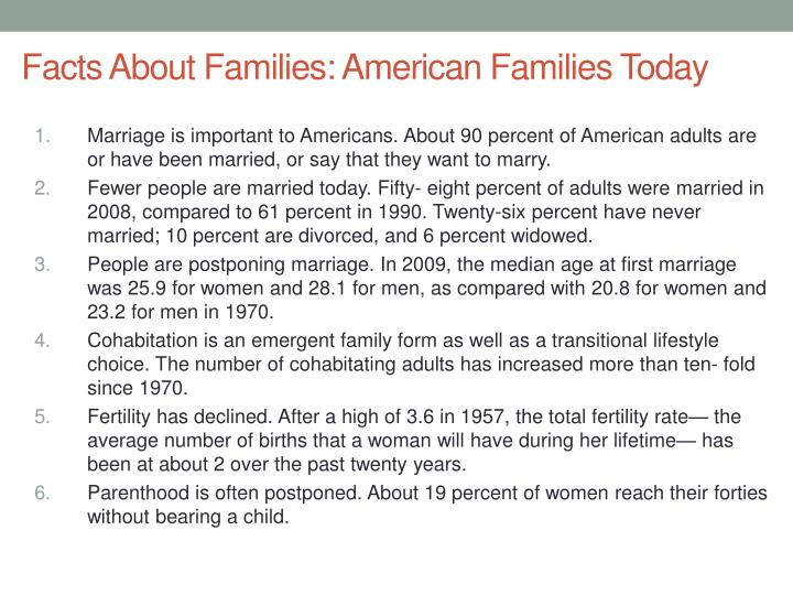 Facts About Families: American Families Today