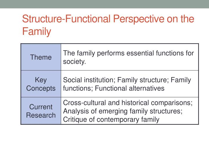 Structure-Functional Perspective on the Family