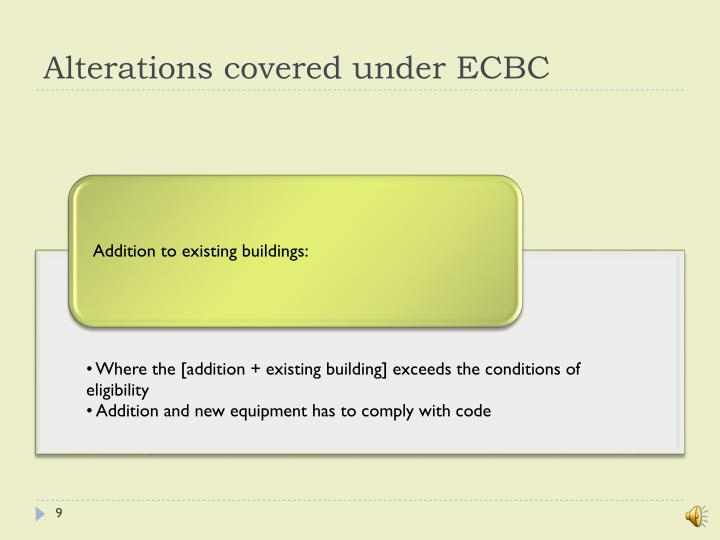 Alterations covered under ECBC
