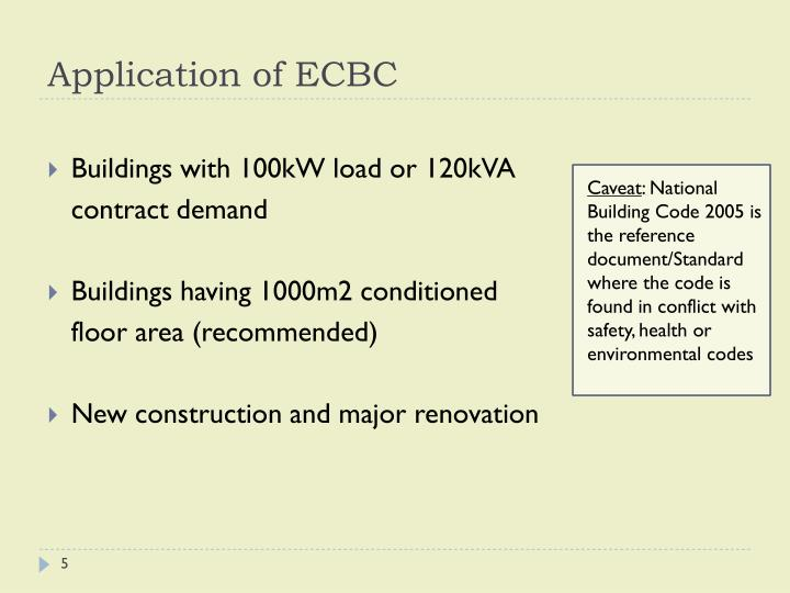 Application of ECBC
