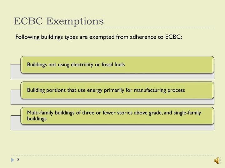 ECBC Exemptions