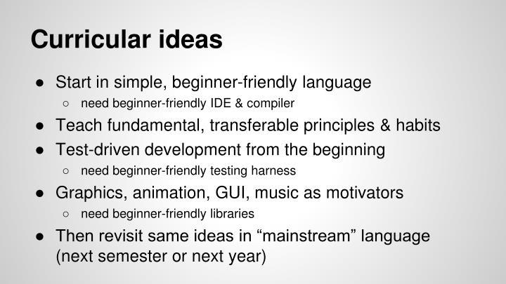 Curricular ideas