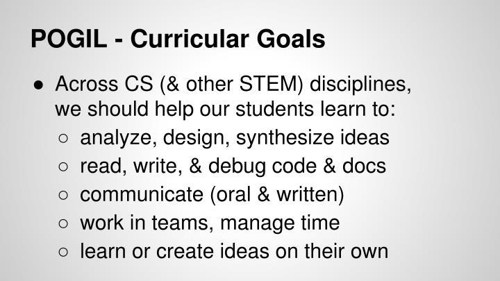 POGIL - Curricular Goals