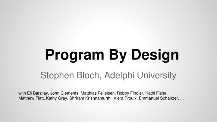 Program By Design