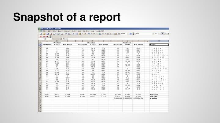Snapshot of a report
