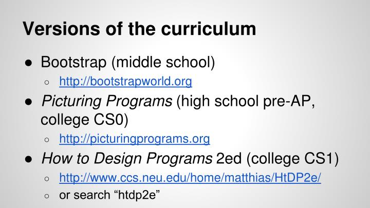 Versions of the curriculum