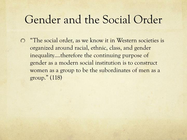 Gender and the Social Order