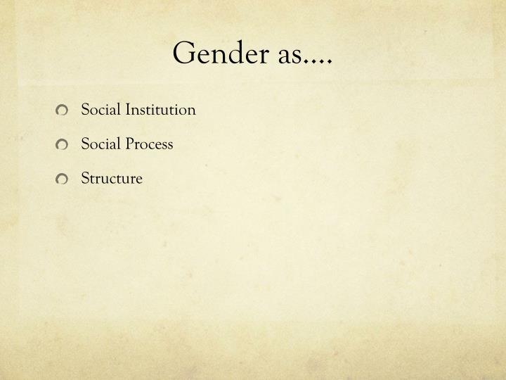 Gender as….