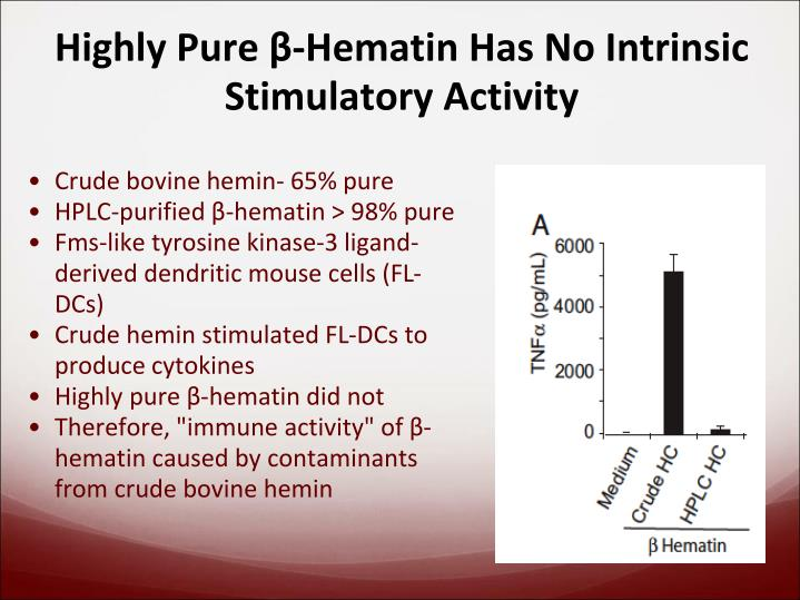 Highly Pure β-Hematin Has No Intrinsic Stimulatory Activity
