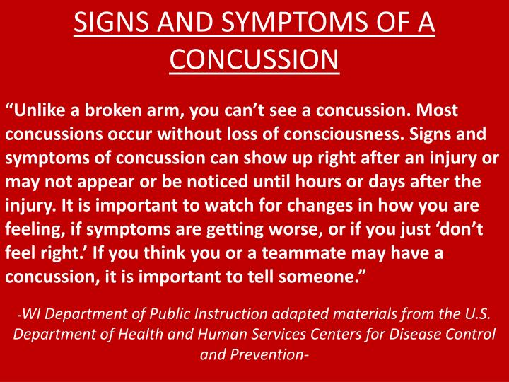 SIGNS AND SYMPTOMS OF A CONCUSSION