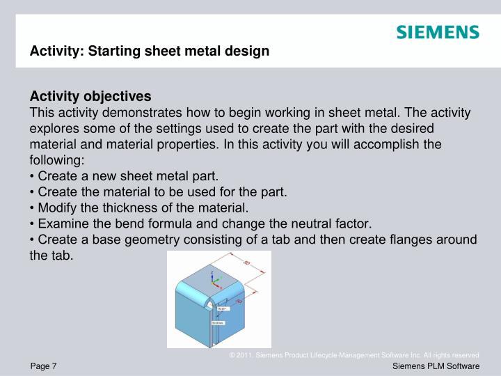Activity: Starting sheet metal design