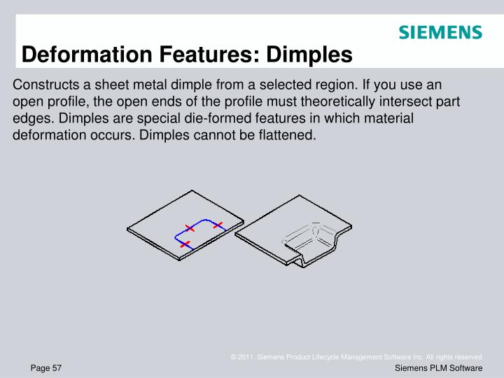 Deformation Features: Dimples