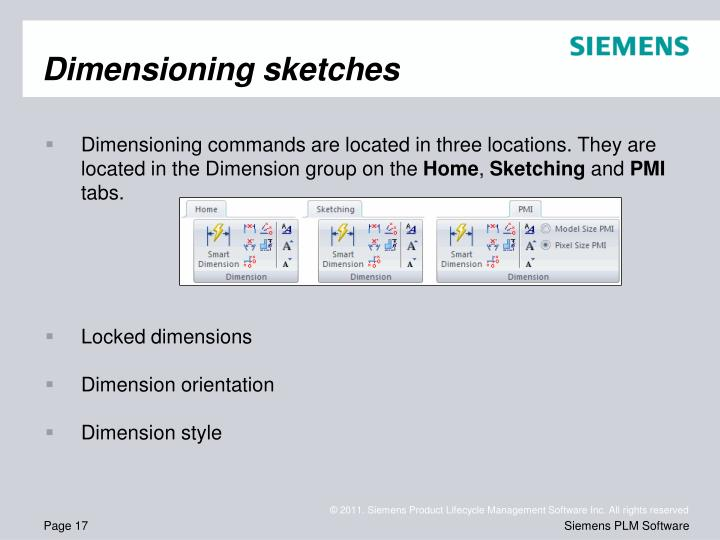 Dimensioning sketches