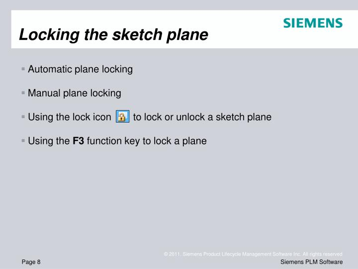 Locking the sketch plane