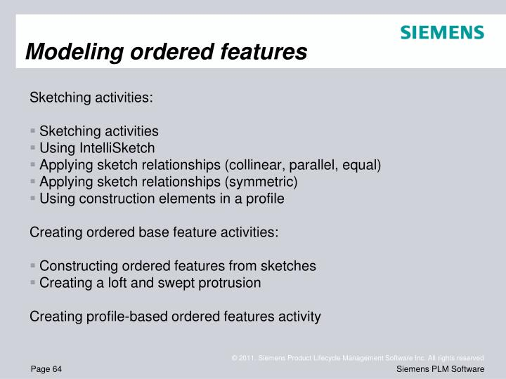 Modeling ordered features
