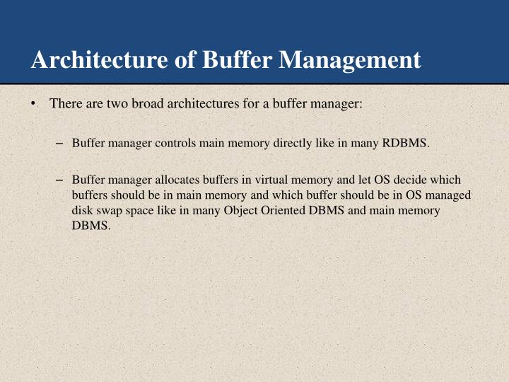 Architecture of Buffer Management