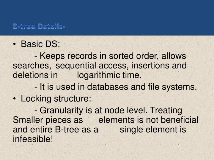 B-tree Details-