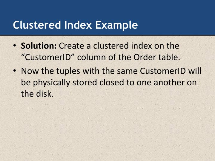 Clustered Index Example
