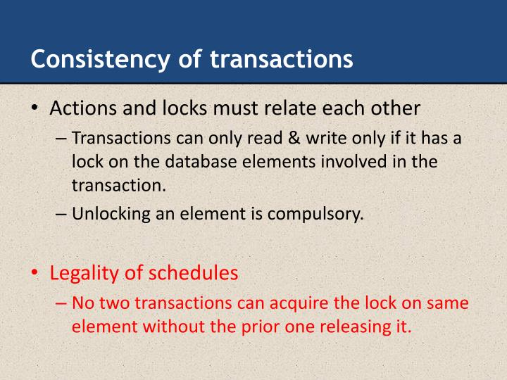 Consistency of transactions