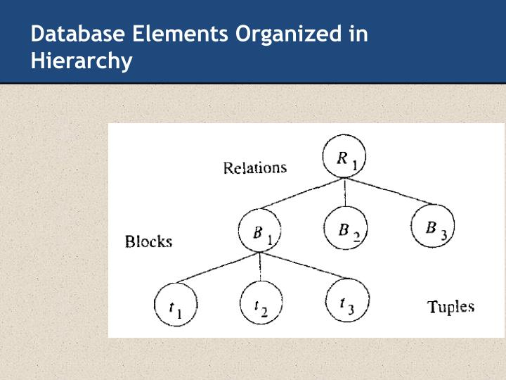 Database Elements Organized in Hierarchy
