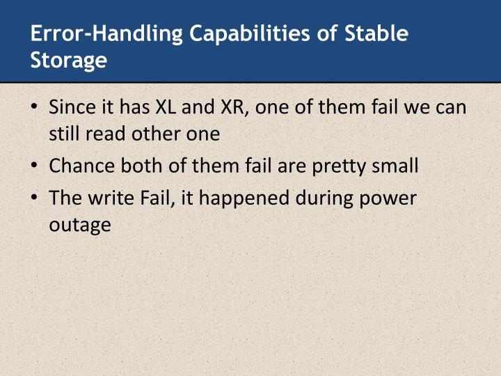 Error-Handling Capabilities of Stable Storage