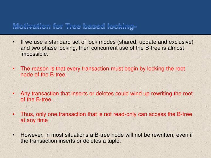 Motivation for Tree based locking-