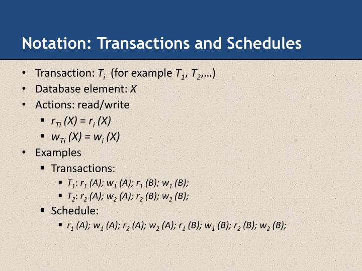 Notation: Transactions and Schedules