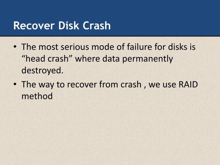 Recover Disk Crash