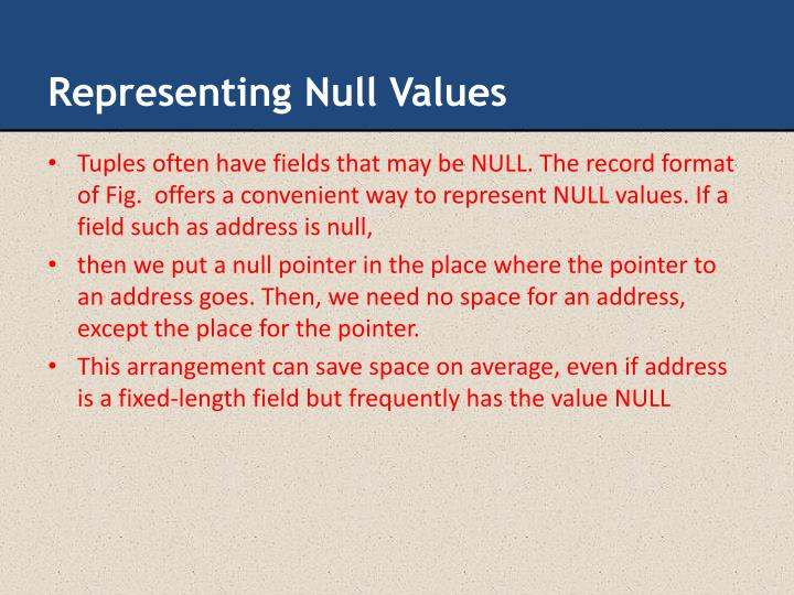 Representing Null Values