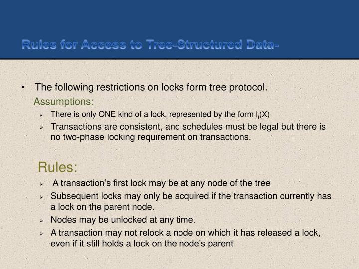 Rules for Access to Tree-Structured Data-