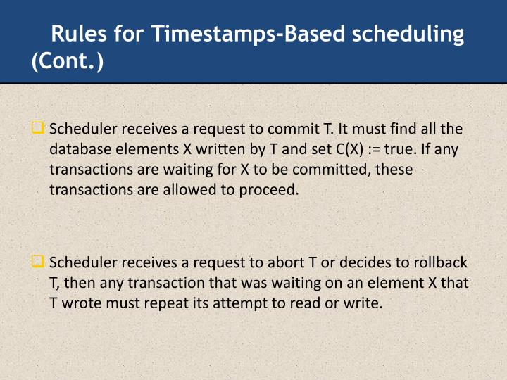 Rules for Timestamps-Based scheduling (Cont.)