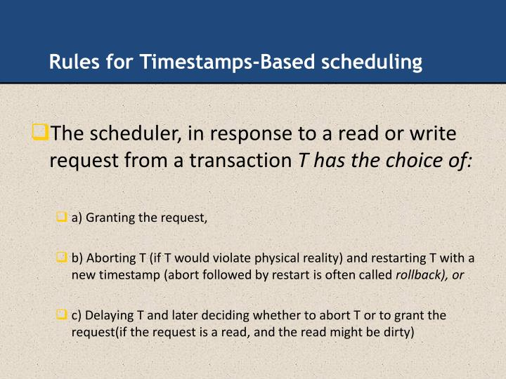 Rules for Timestamps-Based scheduling