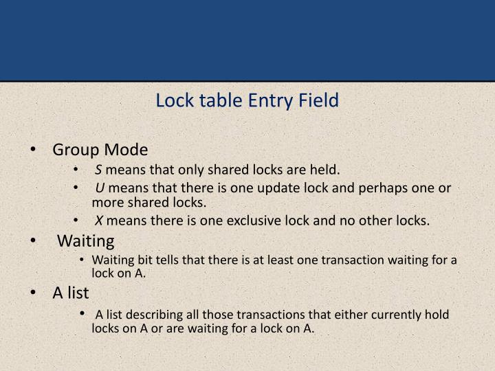 Lock table Entry Field
