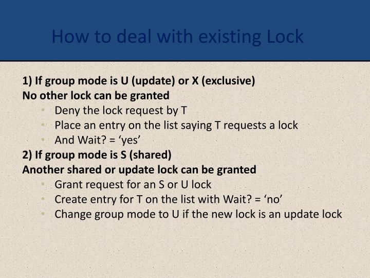 How to deal with existing Lock