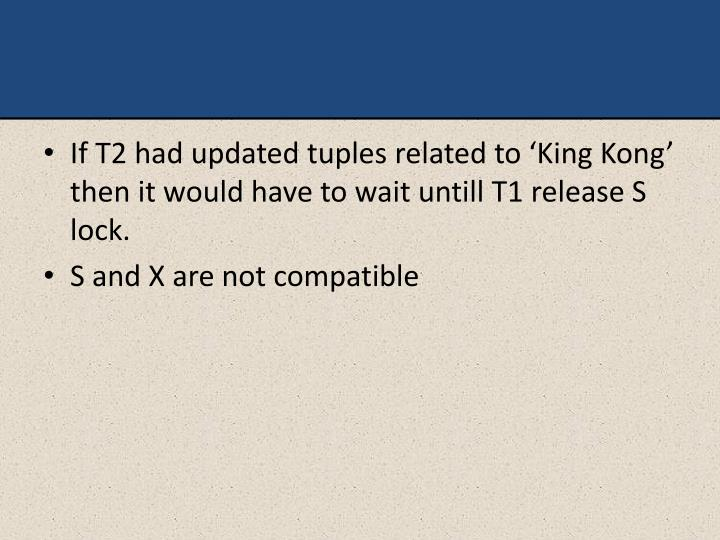 If T2 had updated tuples related to 'King Kong'  then it would have to wait untill T1 release S lock.